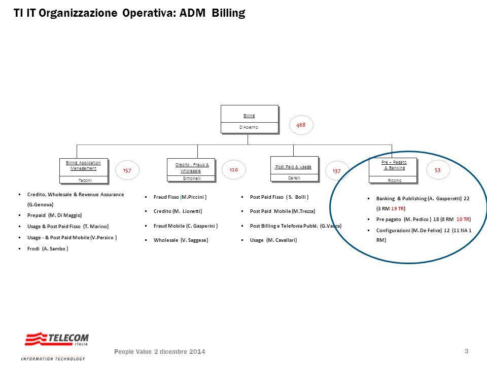TI IT Organizzazione Operativa: ADM Billing Billing Application Management Credito, Fraud & Wholesale &Wholesale Post Paid & usage Billing Pre – Pagat
