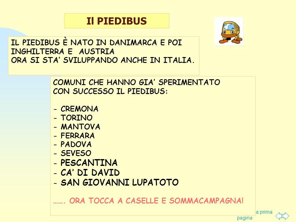 Torna alla prima pagina Il PIEDIBUS COMUNI CHE HANNO GIA' SPERIMENTATO CON SUCCESSO IL PIEDIBUS: - CREMONA - TORINO - MANTOVA - FERRARA - PADOVA - SEVESO - PESCANTINA - CA' DI DAVID - SAN GIOVANNI LUPATOTO …….