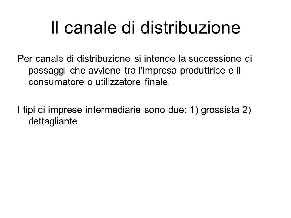 Il canale di distribuzione Per canale di distribuzione si intende la successione di passaggi che avviene tra l'impresa produttrice e il consumatore o utilizzatore finale.