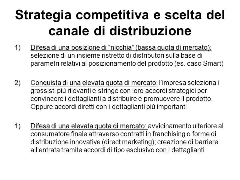 Strategia competitiva e scelta del canale di distribuzione 1)Difesa di una posizione di nicchia (bassa quota di mercato): 1)Difesa di una posizione di nicchia (bassa quota di mercato): selezione di un insieme ristretto di distributori sulla base di parametri relativi al posizionamento del prodotto (es.