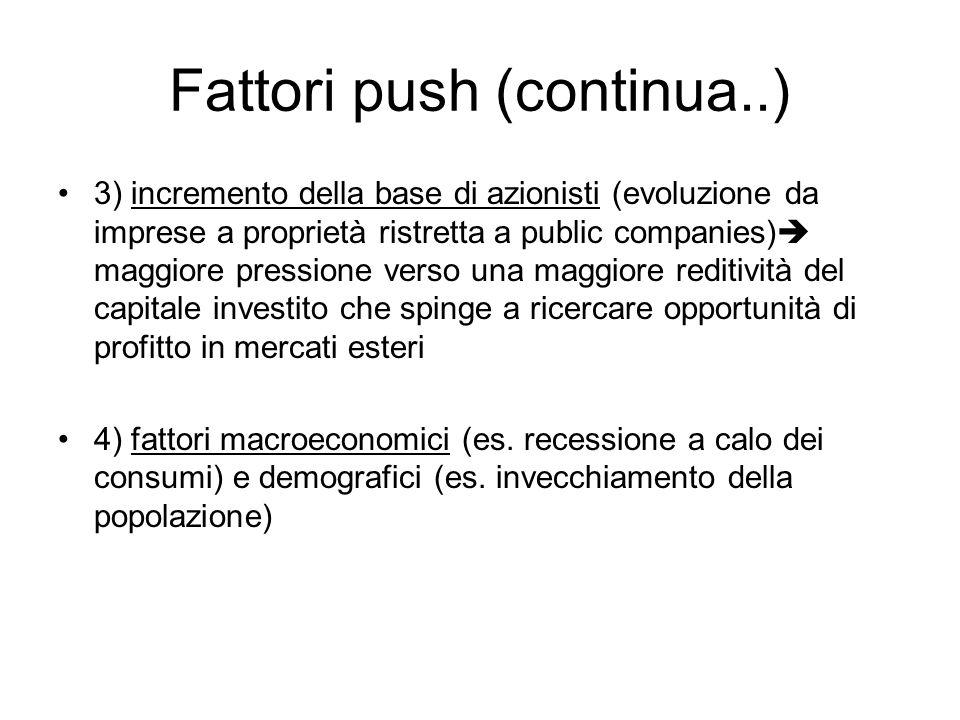 3) incremento della base di azionisti (evoluzione da imprese a proprietà ristretta a public companies)  maggiore pressione verso una maggiore reditività del capitale investito che spinge a ricercare opportunità di profitto in mercati esteri 4) fattori macroeconomici (es.