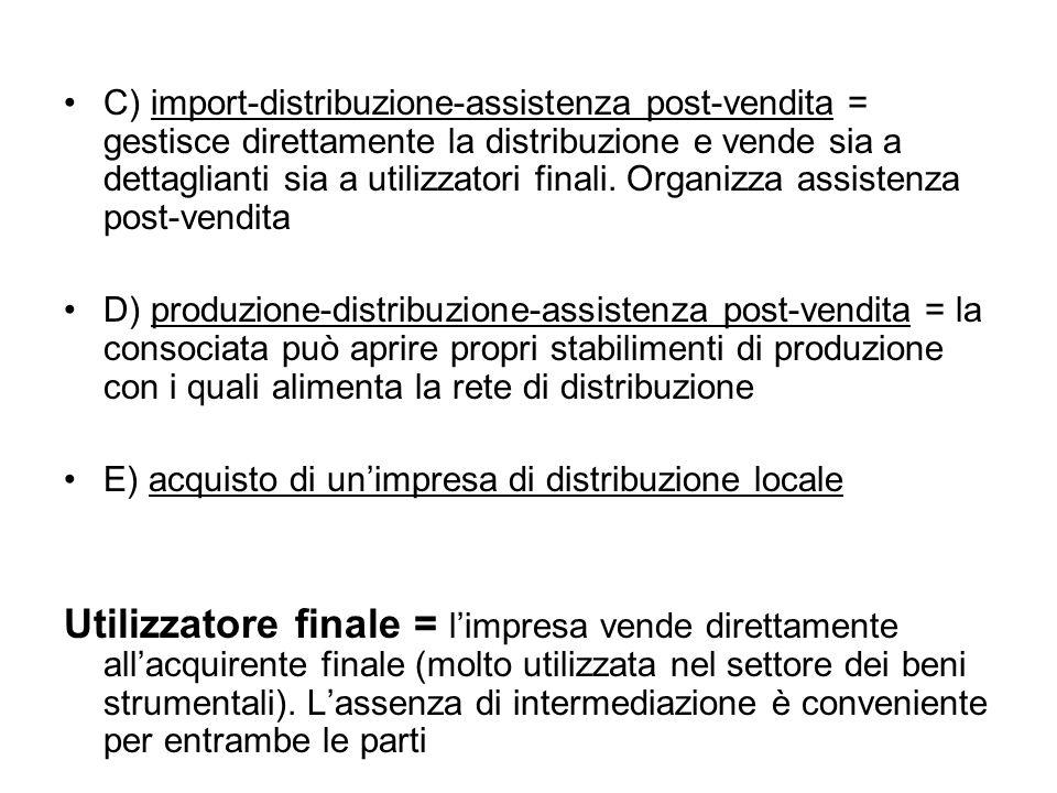 C) import-distribuzione-assistenza post-vendita = gestisce direttamente la distribuzione e vende sia a dettaglianti sia a utilizzatori finali.