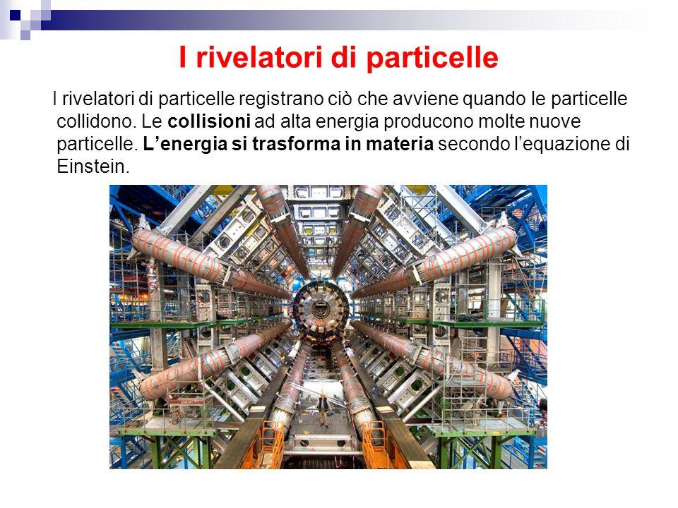I rivelatori di particelle I rivelatori di particelle registrano ciò che avviene quando le particelle collidono. Le collisioni ad alta energia produco