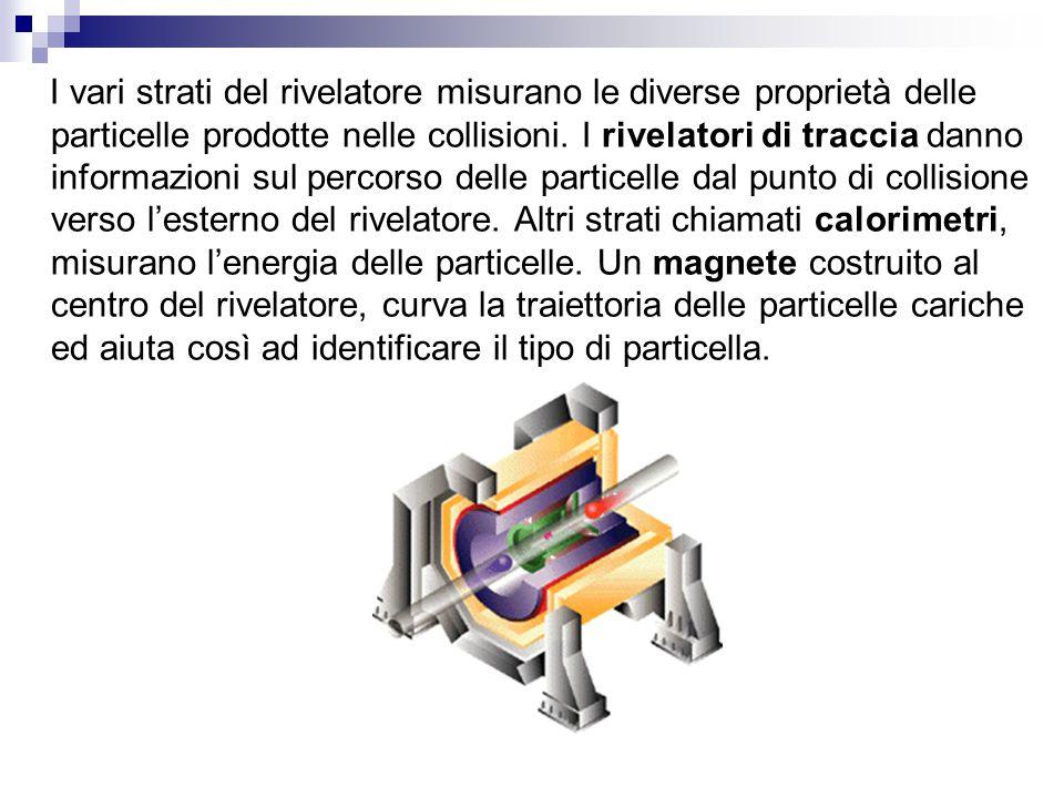 I vari strati del rivelatore misurano le diverse proprietà delle particelle prodotte nelle collisioni. I rivelatori di traccia danno informazioni sul
