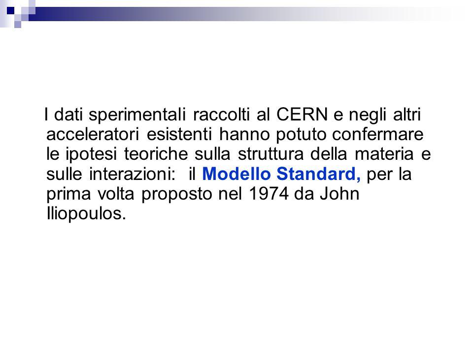 I dati sperimentali raccolti al CERN e negli altri acceleratori esistenti hanno potuto confermare le ipotesi teoriche sulla struttura della materia e