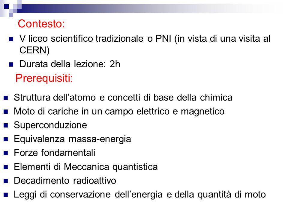 Contesto: V liceo scientifico tradizionale o PNI (in vista di una visita al CERN) Durata della lezione: 2h Prerequisiti: Struttura dell'atomo e concet