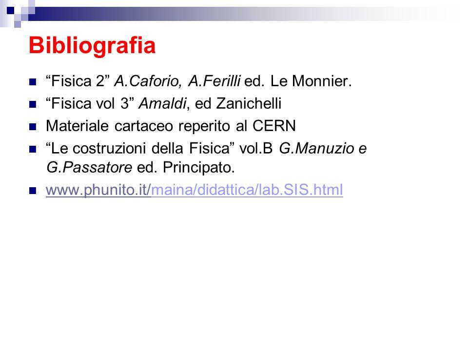 """Bibliografia """"Fisica 2"""" A.Caforio, A.Ferilli ed. Le Monnier. """"Fisica vol 3"""" Amaldi, ed Zanichelli Materiale cartaceo reperito al CERN """"Le costruzioni"""