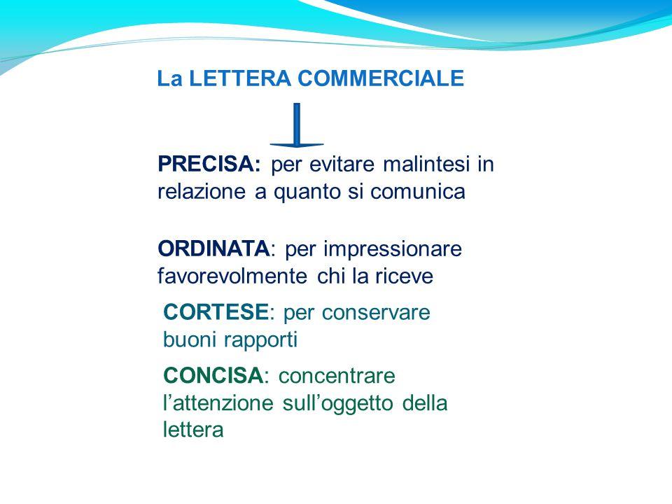 CONCISA: concentrare l'attenzione sull'oggetto della lettera CORTESE: per conservare buoni rapporti ORDINATA: per impressionare favorevolmente chi la
