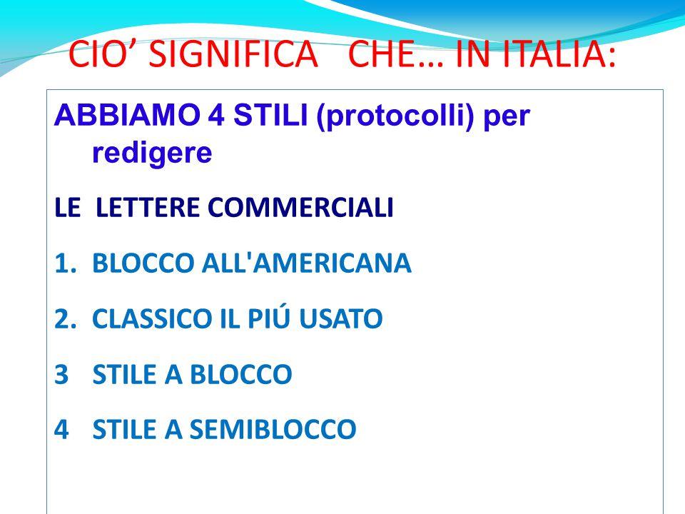 CIO' SIGNIFICA CHE… IN ITALIA: ABBIAMO 4 STILI (protocolli) per redigere LE LETTERE COMMERCIALI 1.BLOCCO ALL AMERICANA 2.CLASSICO IL PIÚ USATO 3STILE A BLOCCO 4STILE A SEMIBLOCCO