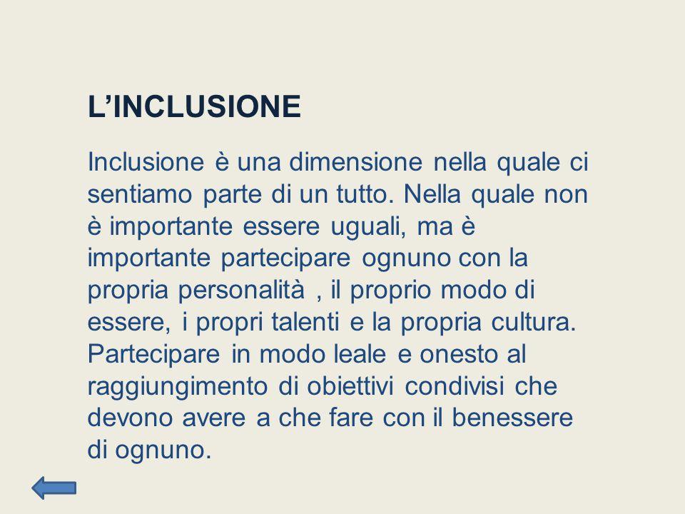 L'INCLUSIONE Inclusione è una dimensione nella quale ci sentiamo parte di un tutto.