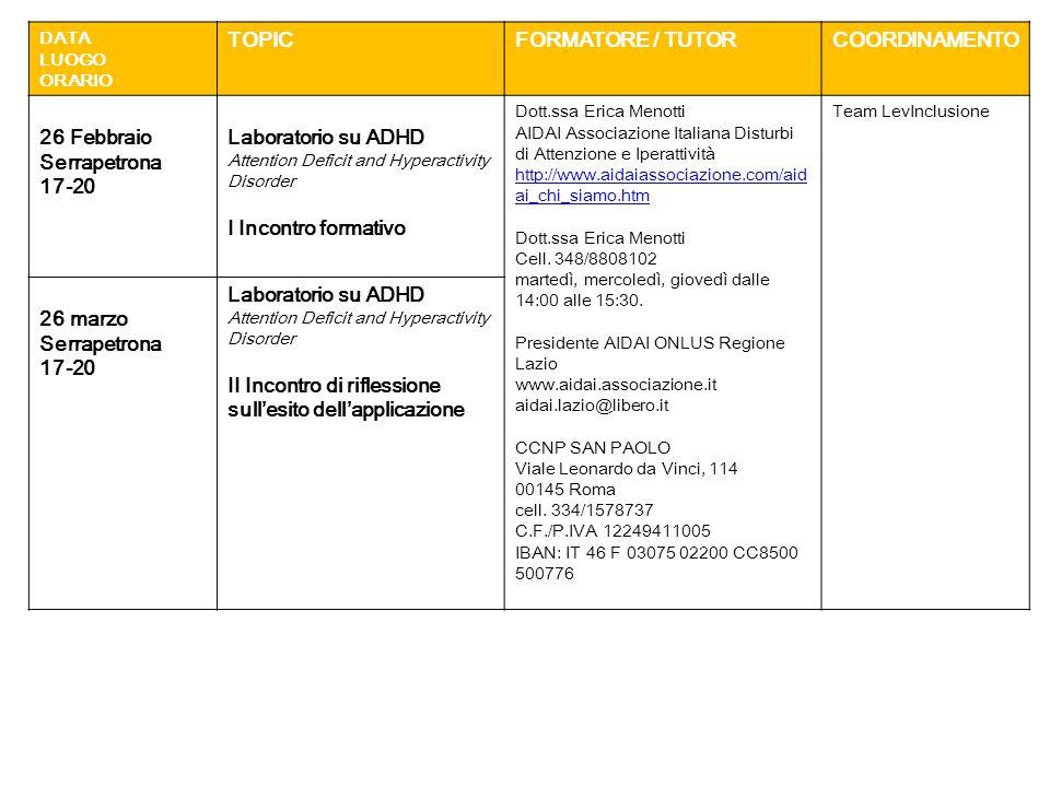 DATA LUOGO ORARIO TOPICFORMATORE / TUTORCOORDINAMENTO 26 Febbraio Serrapetrona 17-20 Laboratorio su ADHD Attention Deficit and Hyperactivity Disorder