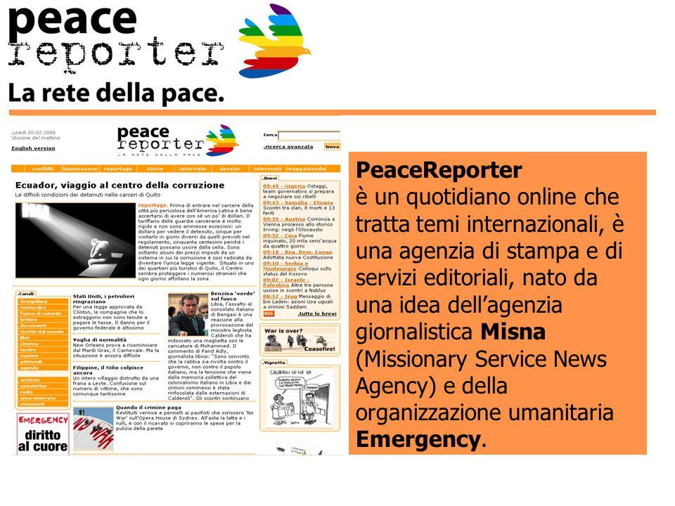 PeaceReporter è un quotidiano online che tratta temi internazionali, è una agenzia di stampa e di servizi editoriali, nato da una idea dell'agenzia giornalistica Misna (Missionary Service News Agency) e della organizzazione umanitaria Emergency.