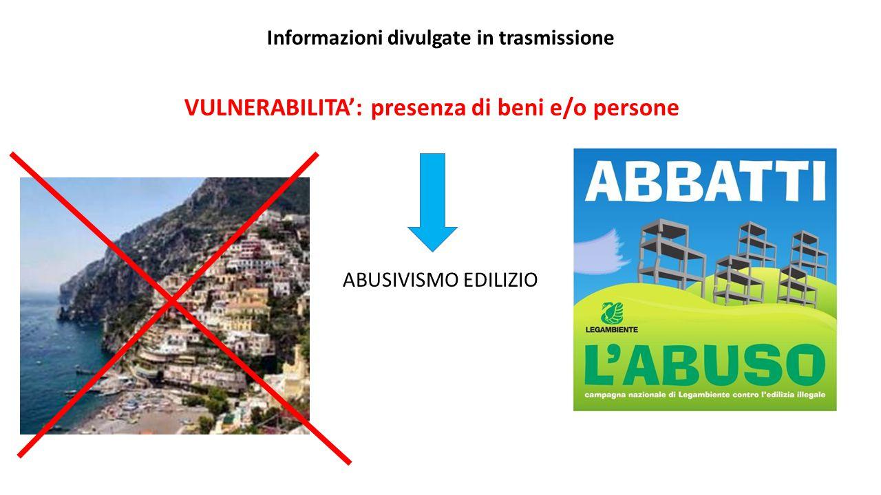 Informazioni divulgate in trasmissione VULNERABILITA': presenza di beni e/o persone ABUSIVISMO EDILIZIO