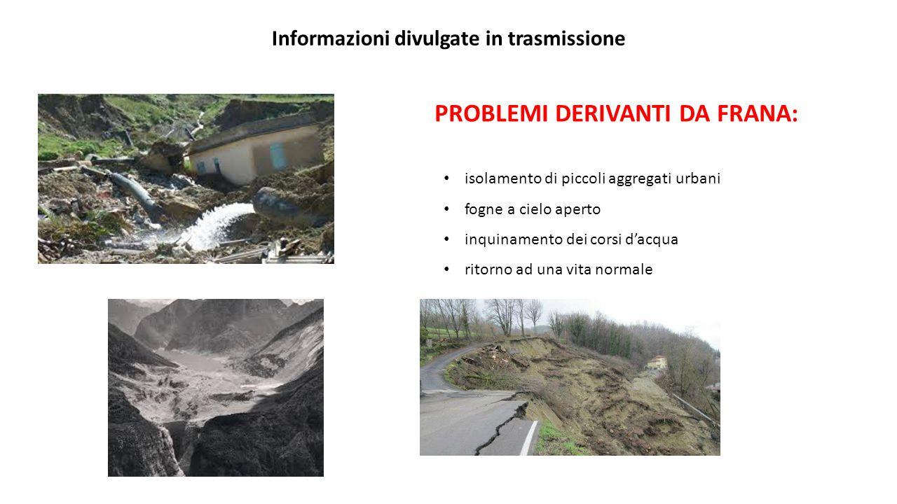 Informazioni divulgate in trasmissione PROBLEMI DERIVANTI DA FRANA: isolamento di piccoli aggregati urbani fogne a cielo aperto inquinamento dei corsi