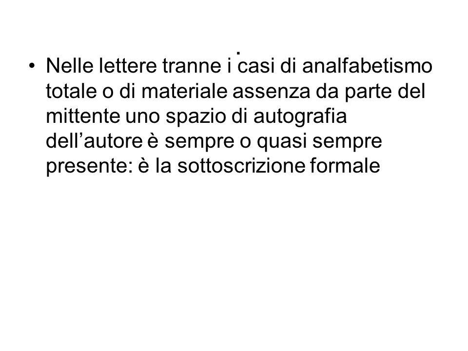 . Nelle lettere tranne i casi di analfabetismo totale o di materiale assenza da parte del mittente uno spazio di autografia dell'autore è sempre o qua