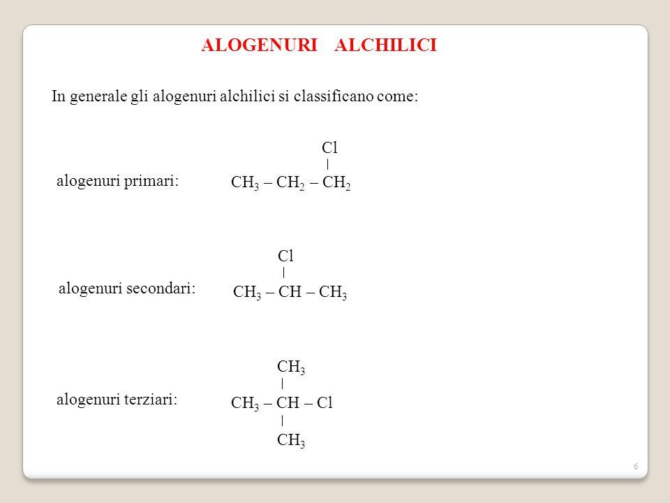 6 ALOGENURI ALCHILICI In generale gli alogenuri alchilici si classificano come: alogenuri primari: CH 3 – CH 2 – CH 2 Cl alogenuri secondari: CH 3 – C
