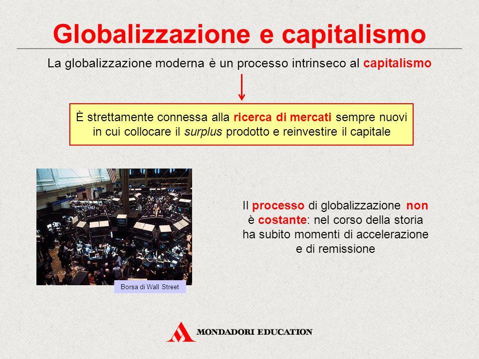 Globalizzazione e capitalismo Il processo di globalizzazione non è costante: nel corso della storia ha subito momenti di accelerazione e di remissione La globalizzazione moderna è un processo intrinseco al capitalismo È strettamente connessa alla ricerca di mercati sempre nuovi in cui collocare il surplus prodotto e reinvestire il capitale Borsa di Wall Street