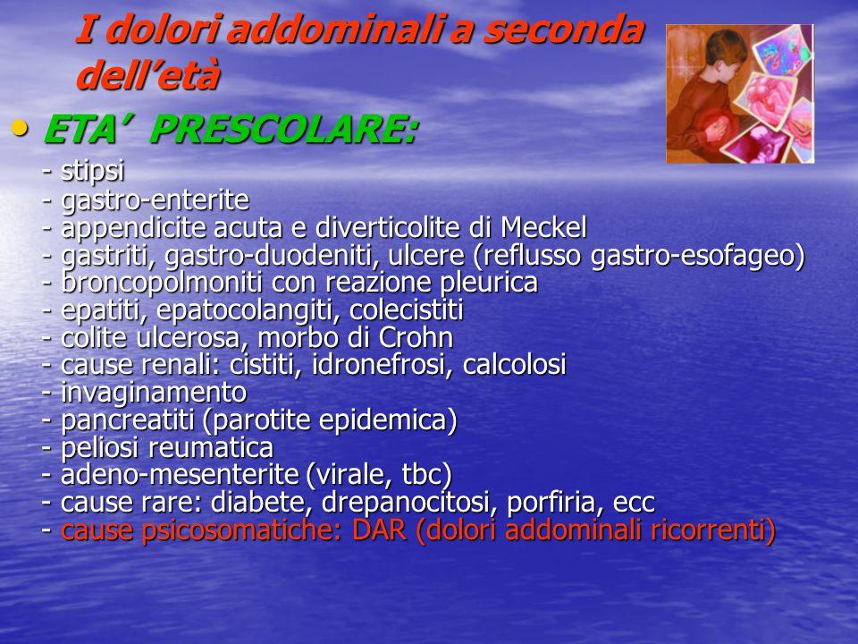 I dolori addominali a seconda dell'età ETA' PRESCOLARE: ETA' PRESCOLARE: - stipsi - gastro-enterite - appendicite acuta e diverticolite di Meckel - ga