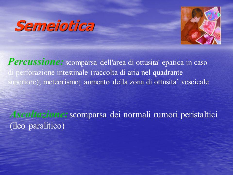Semeiotica Percussione: scomparsa dell'area di ottusita' epatica in caso di perforazione intestinale (raccolta di aria nel quadrante superiore); meteo