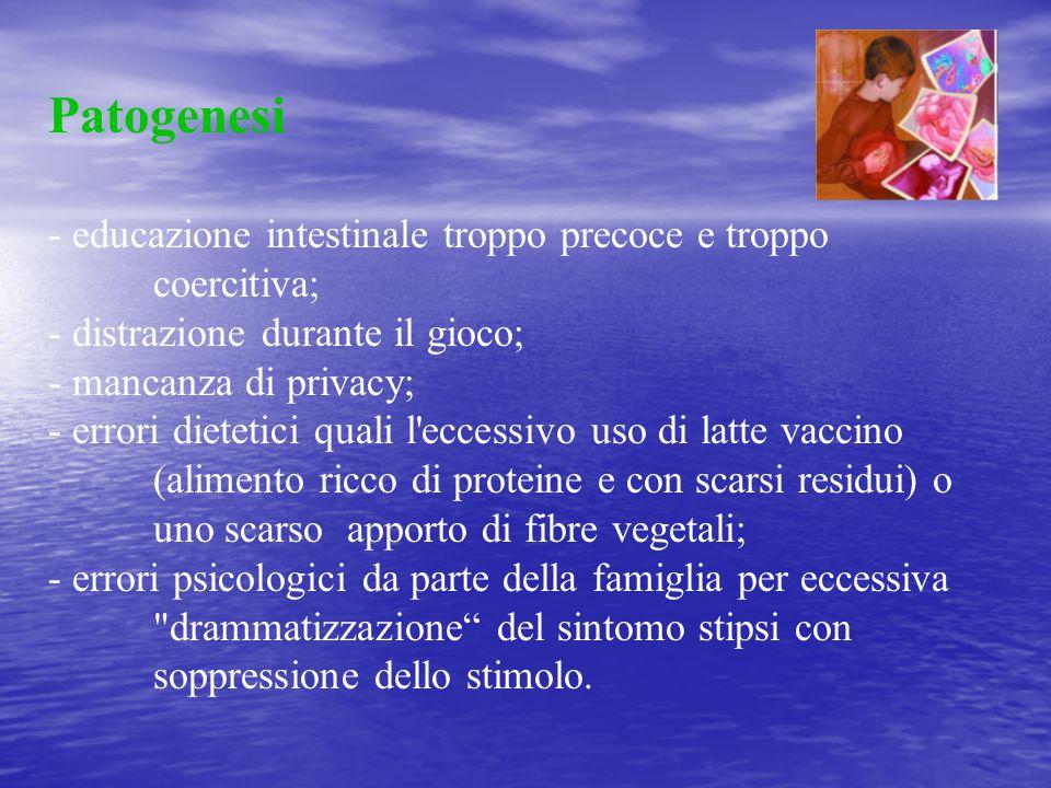 Patogenesi - educazione intestinale troppo precoce e troppo coercitiva; - distrazione durante il gioco; - mancanza di privacy; - errori dietetici qual