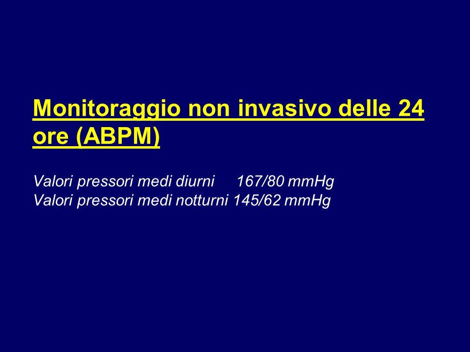 Monitoraggio non invasivo delle 24 ore (ABPM) Valori pressori medi diurni 167/80 mmHg Valori pressori medi notturni 145/62 mmHg