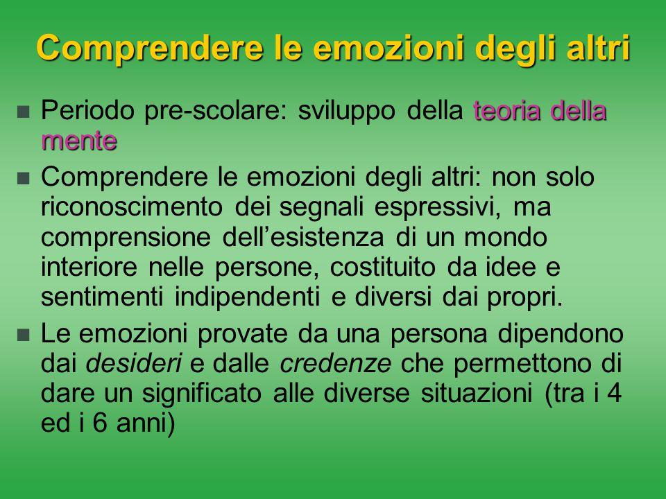 Comprendere le emozioni degli altri teoria della mente Periodo pre-scolare: sviluppo della teoria della mente Comprendere le emozioni degli altri: non