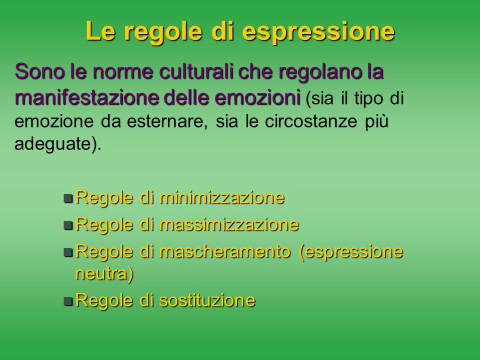 Le regole di espressione Sono le norme culturali che regolano la manifestazione delle emozioni Sono le norme culturali che regolano la manifestazione