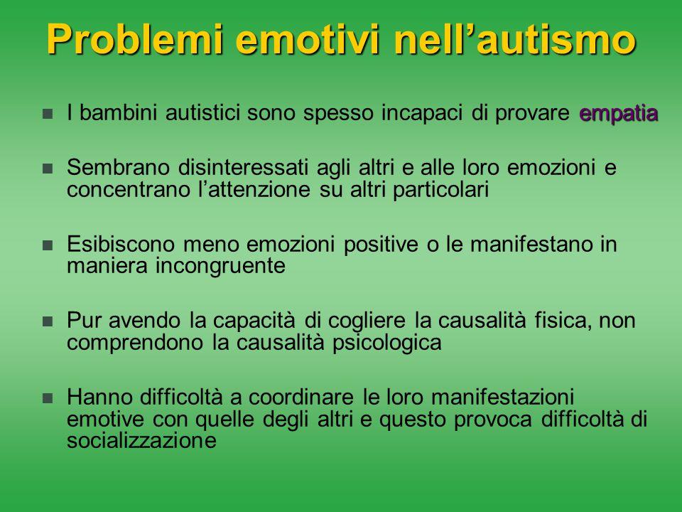 Problemi emotivi nell'autismo empatia I bambini autistici sono spesso incapaci di provare empatia Sembrano disinteressati agli altri e alle loro emozi