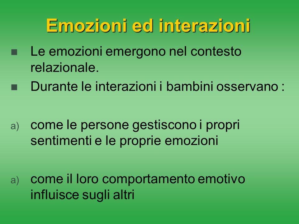 Emozioni ed interazioni Le emozioni emergono nel contesto relazionale. Durante le interazioni i bambini osservano : a) come le persone gestiscono i pr
