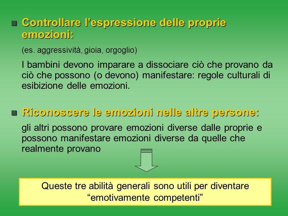 Controllare l'espressione delle proprie emozioni: Controllare l'espressione delle proprie emozioni: (es. aggressività, gioia, orgoglio) I bambini devo