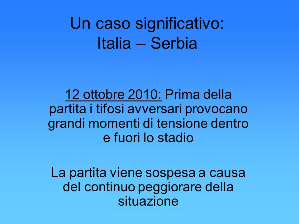 Un caso significativo: Italia – Serbia 12 ottobre 2010: Prima della partita i tifosi avversari provocano grandi momenti di tensione dentro e fuori lo stadio La partita viene sospesa a causa del continuo peggiorare della situazione