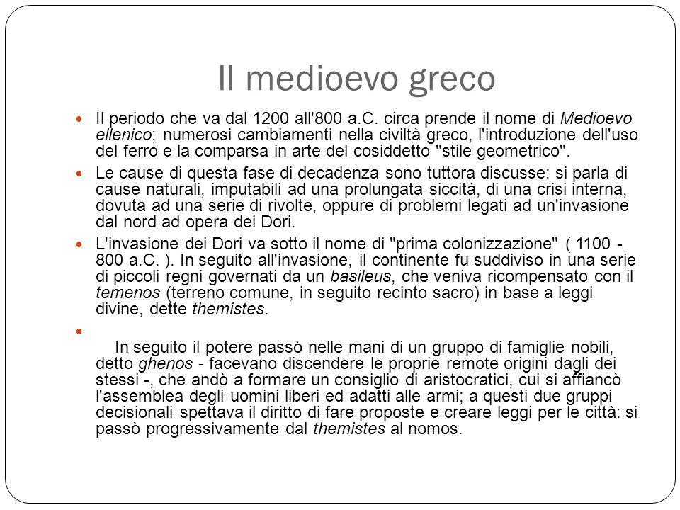 Il medioevo greco Il periodo che va dal 1200 all 800 a.C.