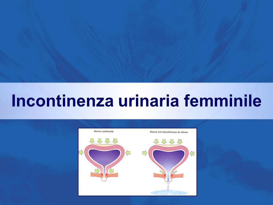 Principali cause di incontinenza Anomalie Vescicali Anomalie Sfinteriche Iperattività Detrusoriale Deficit Sfinteriale