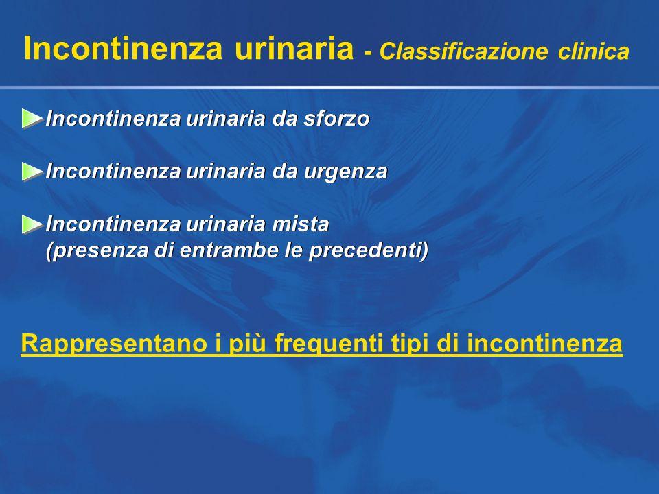 Incontinenza urinaria - Classificazione clinica Incontinenza urinaria da sforzo Incontinenza urinaria da urgenza Incontinenza urinaria mista (presenza di entrambe le precedenti) Incontinenza urinaria da sforzo Incontinenza urinaria da urgenza Incontinenza urinaria mista (presenza di entrambe le precedenti) Rappresentano i più frequenti tipi di incontinenza