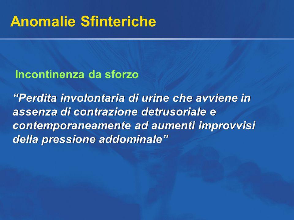 Anomalie Sfinteriche Perdita involontaria di urine che avviene in assenza di contrazione detrusoriale e contemporaneamente ad aumenti improvvisi della pressione addominale Incontinenza da sforzo