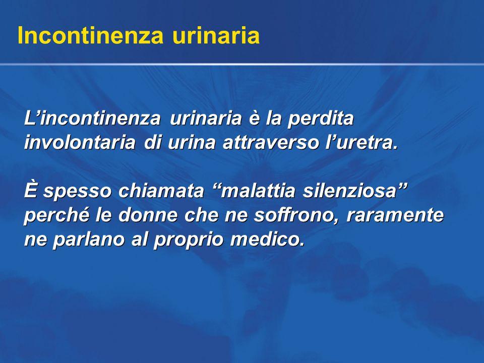 Incontinenza urinaria L'incontinenza urinaria è la perdita involontaria di urina attraverso l'uretra.