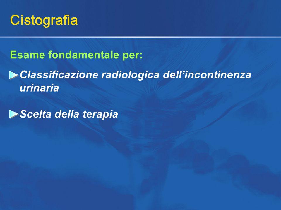 Cistografia Esame fondamentale per: Classificazione radiologica dell'incontinenza urinaria Scelta della terapia