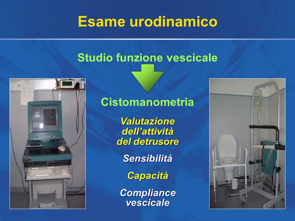 Esame urodinamico Studio funzione vescicale Cistomanometria Valutazione dell'attività del detrusore Sensibilità Capacità Compliance vescicale Valutazione dell'attività del detrusore Sensibilità Capacità Compliance vescicale