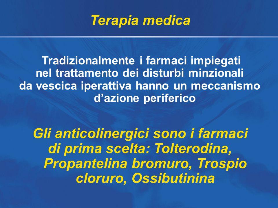 Terapia medica Tradizionalmente i farmaci impiegati nel trattamento dei disturbi minzionali da vescica iperattiva hanno un meccanismo d'azione periferico Gli anticolinergici sono i farmaci di prima scelta: Tolterodina, Propantelina bromuro, Trospio cloruro, Ossibutinina