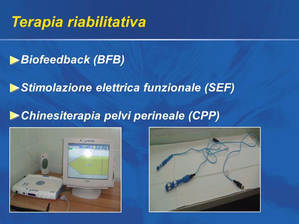 Terapia riabilitativa Biofeedback (BFB) Stimolazione elettrica funzionale (SEF) Chinesiterapia pelvi perineale (CPP)