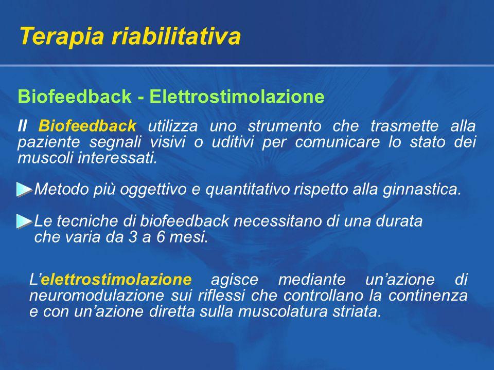 Terapia riabilitativa Biofeedback - Elettrostimolazione Metodo più oggettivo e quantitativo rispetto alla ginnastica.