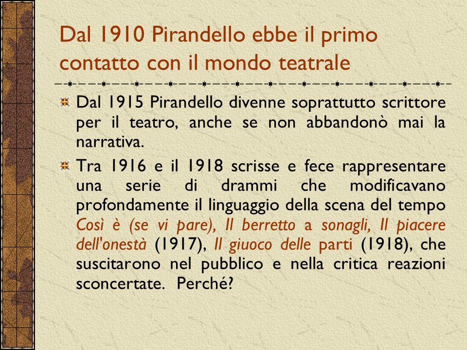 Dal 1910 Pirandello ebbe il primo contatto con il mondo teatrale Dal 1915 Pirandello divenne soprattutto scrittore per il teatro, anche se non abbando