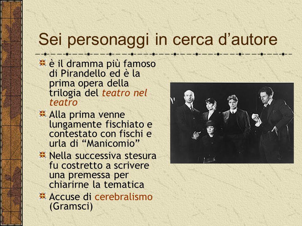 Sei personaggi in cerca d'autore è il dramma più famoso di Pirandello ed è la prima opera della trilogia del teatro nel teatro Alla prima venne lungam