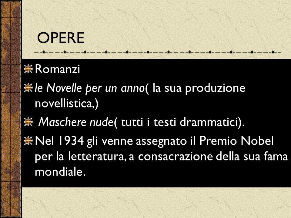 OPERE Romanzi le Novelle per un anno( la sua produzione novellistica,) Maschere nude( tutti i testi drammatici). Nel 1934 gli venne assegnato il Premi