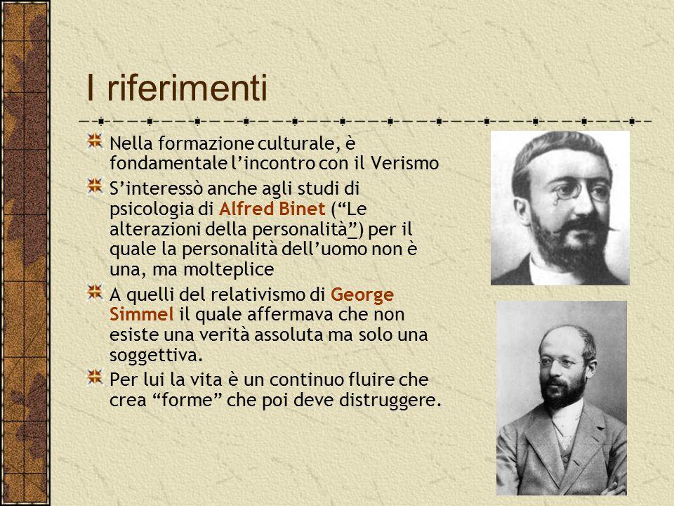 """I riferimenti Nella formazione culturale, è fondamentale l'incontro con il Verismo S'interessò anche agli studi di psicologia di Alfred Binet (""""Le alt"""