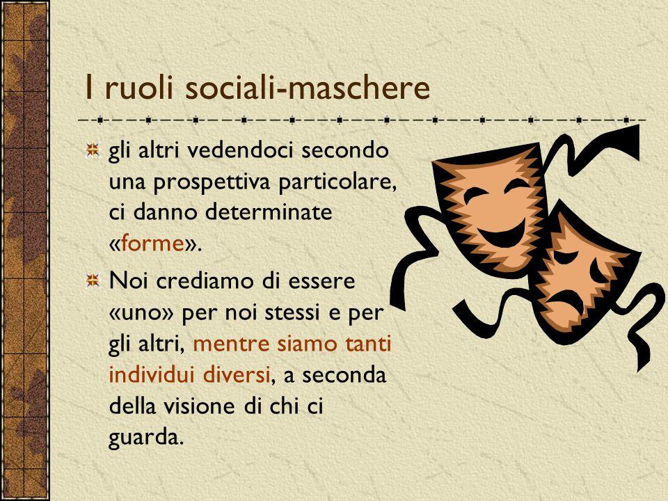 I ruoli sociali-maschere gli altri vedendoci secondo una prospettiva particolare, ci danno determinate «forme». Noi crediamo di essere «uno» per noi s