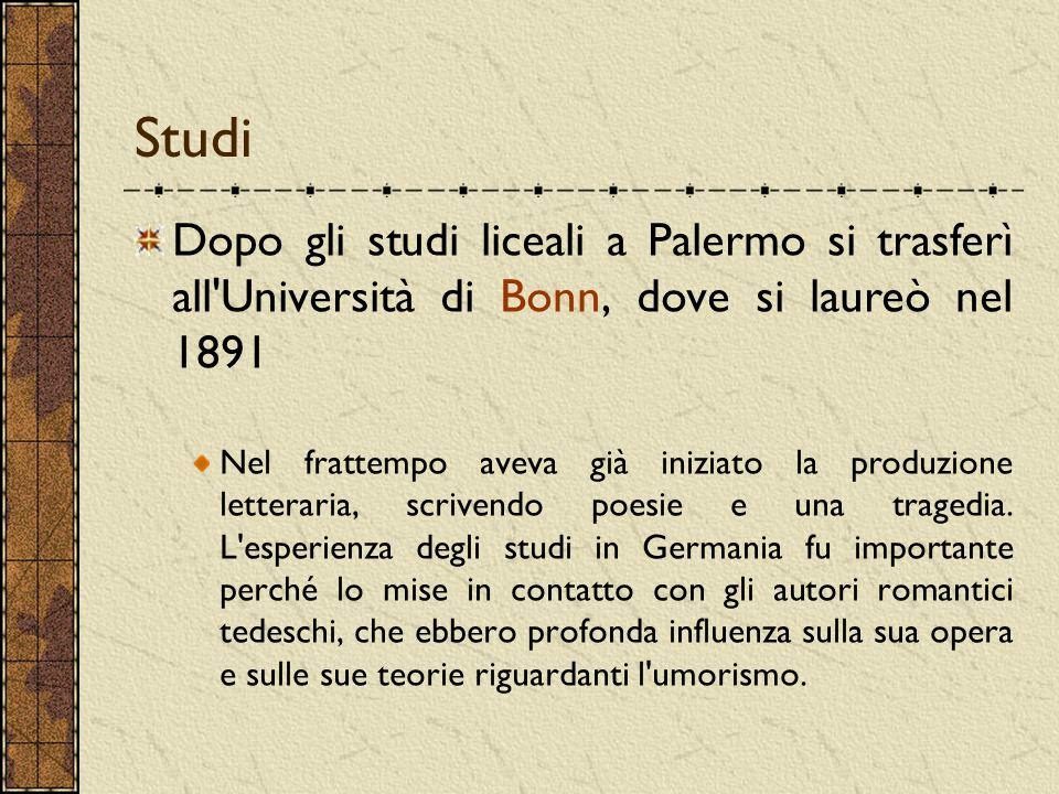 Studi Dopo gli studi liceali a Palermo si trasferì all'Università di Bonn, dove si laureò nel 1891 Nel frattempo aveva già iniziato la produzione lett
