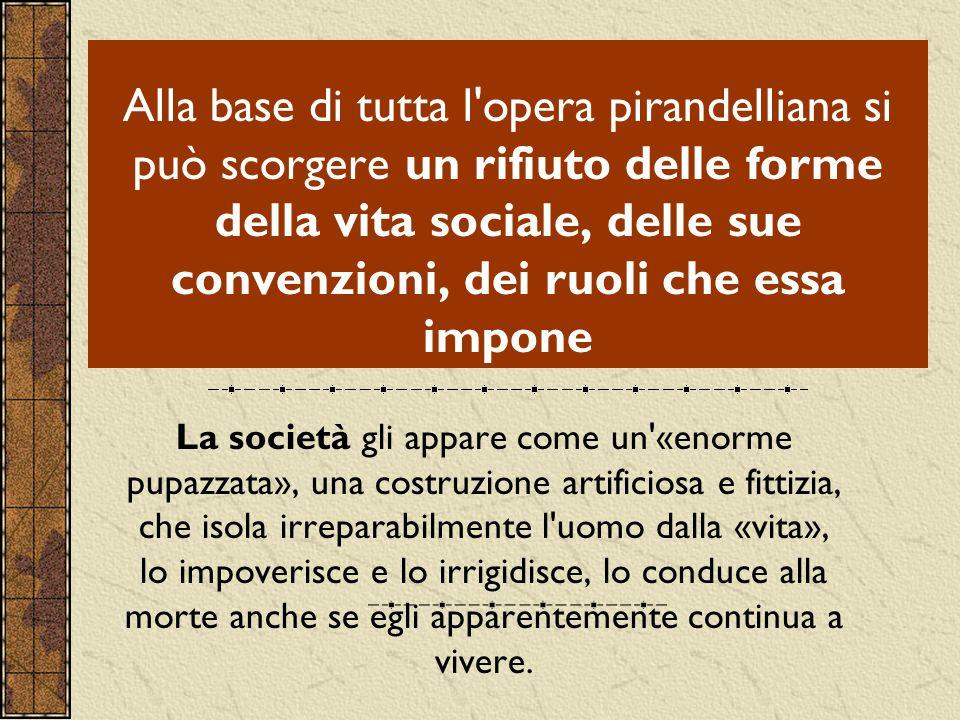 Alla base di tutta l'opera pirandelliana si può scorgere un rifiuto delle forme della vita sociale, delle sue convenzioni, dei ruoli che essa impone L