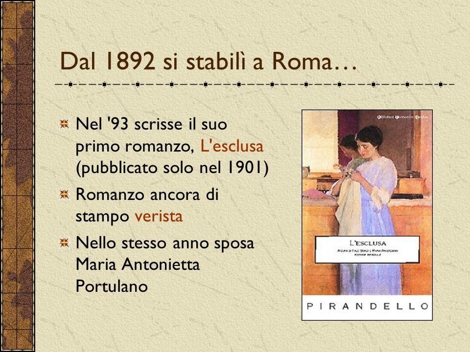 Dal 1892 si stabilì a Roma… Nel '93 scrisse il suo primo romanzo, L'esclusa (pubblicato solo nel 1901) Romanzo ancora di stampo verista Nello stesso a