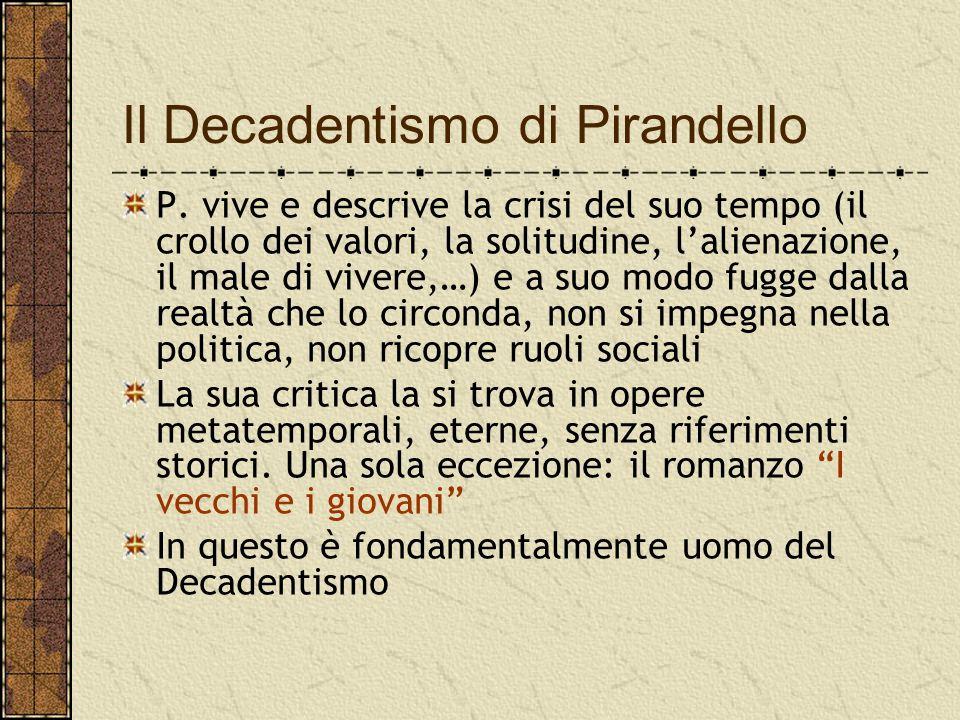 Il Decadentismo di Pirandello P. vive e descrive la crisi del suo tempo (il crollo dei valori, la solitudine, l'alienazione, il male di vivere,…) e a
